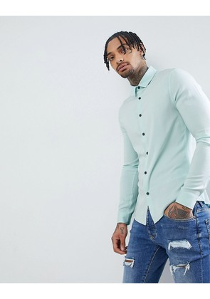 ASOS DESIGN Skinny Viscose Shirt In Pale Blue - Blue