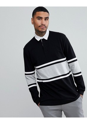 ASOS Relaxed Long Sleeve Rugby Polo Shirt With Contrast Panelling In Black - Black