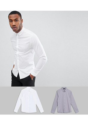 ASOS DESIGN skinny 2 pack white and light grey shirt save - Multi