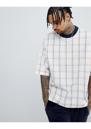 ASOS DESIGN oversized woven t-shirt with check print - Multi