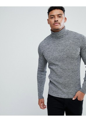 ASOS Muscle Fit Ribbed Roll Neck Jumper In Black & White Twist - Black white twist