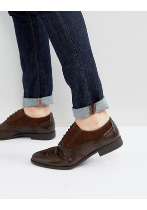 ASOS Brogue Shoes In Brown Faux Leather And Faux Suede Detail - Brown