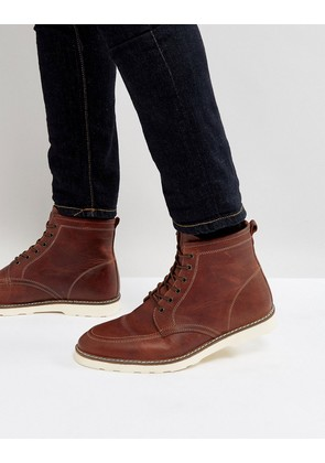 ASOS Lace Up Boots In Brown Leather With White Sole - Brown