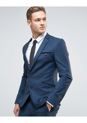 ASOS Super Skinny Suit Jacket in Navy with Piping - Navy