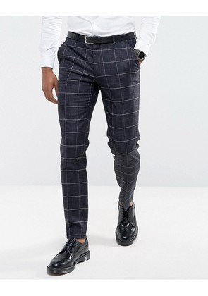 ASOS Wedding Super Skinny Suit Trousers in Navy Windowpane Check With Nepp - Navy