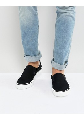 Brave Soul Slip On Plimsolls In Black - Black