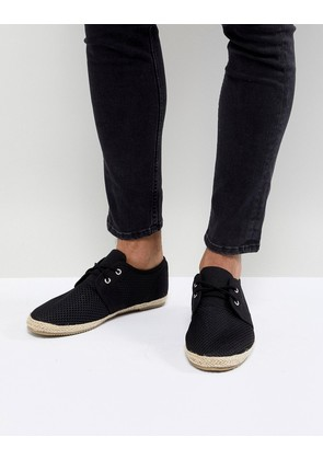 Brave Soul Lace Up Espadrilles In Black Mesh - Black