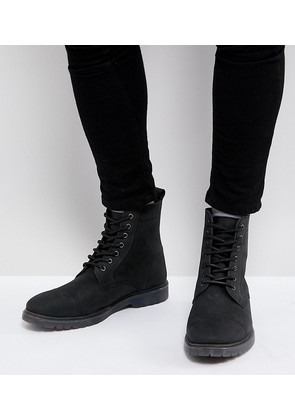 ASOS Wide Fit Lace Up Boots In Black Leather With Ribbed Sole - Black