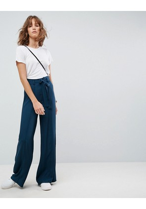 ASOS Tailored Trouser With Wide Leg In Soft Melange - Teal