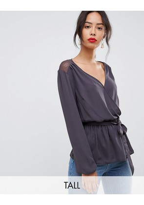 New Look Tall lace wrap blouse - Mid grey