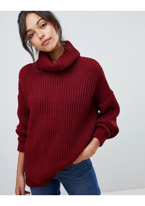 ASOS DESIGN oversized roll neck jumper - Red