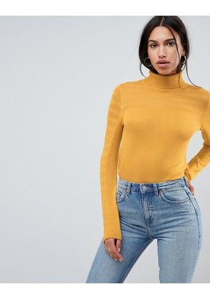 ASOS Jumper with Roll Neck and Sheer Panel Detail - Mustard