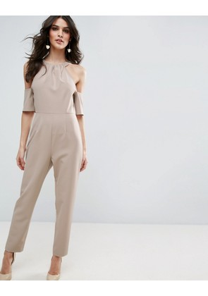 ASOS Jumpsuit with Cold Shoulder Detail - Mink
