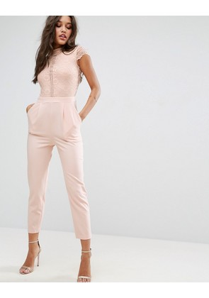 ASOS Lace Top Jumpsuit - Nude