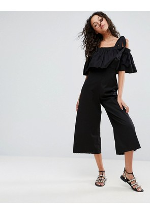 ASOS Jumpsuit in Cotton with Tie Shoulder Detail - Black