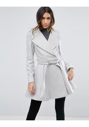 ASOS Skater Coat with Self Belt and Oversized Collar - Grey