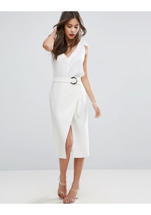 ASOS Asymmetric Pencil Skirt with D-ring - White
