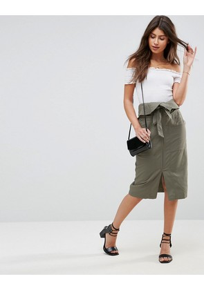 ASOS Midi Skirt with Paperbag Waist - Green