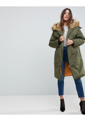 ASOS Parka with Luxe Faux Fur Zip Through Hood - Khaki