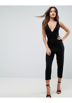 ASOS Jersey Jumpsuit with Ruched Corset Waist - Black