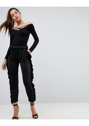 ASOS Slinky Trouser with Ruffle Detail - Black