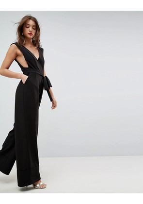 ASOS Jumpsuit with Wide Leg and Self Belt - Black