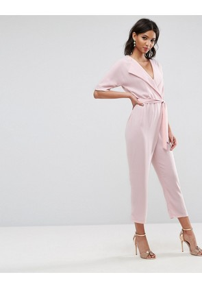 ASOS Wrap Jumpsuit with Self belt - Blush