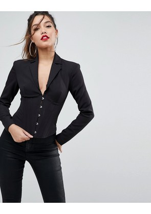 ASOS Corseted Luxe Blazer with Boning - Black