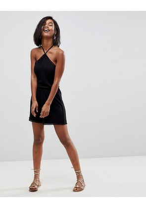 ASOS Jersey Halterneck Playsuit with Trim - Black