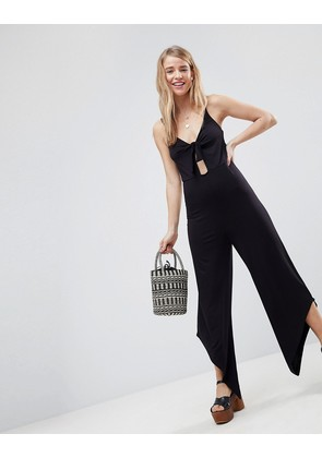 ASOS Cami Jersey Jumpsuit with Bunny Tie Detail - Black