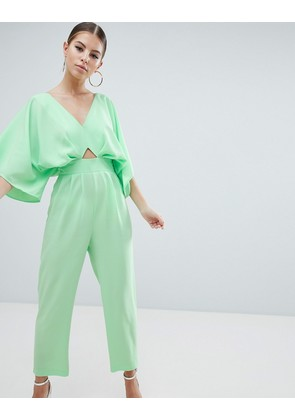ASOS DESIGN jumpsuit with kimono sleeve and peg leg - Green