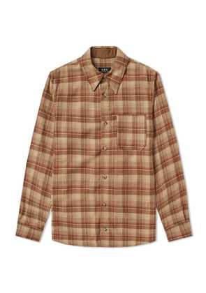A.P.C. Attic Check Wool Overshirt Brown