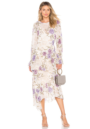Mona Dress In Cream Lilac Floral