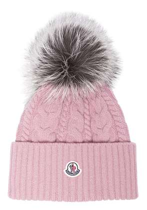 Moncler Pink wool beanie hat with pom pom - Pink & Purple