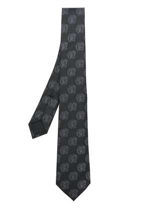Gucci roaring tiger patterned tie - Black