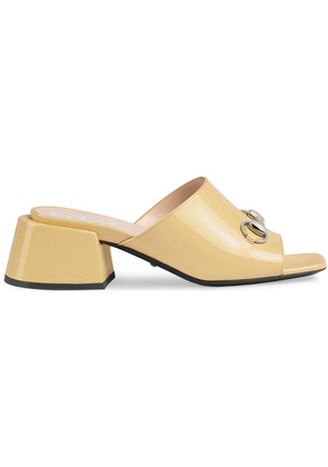 Gucci Patent leather mid-heel slides - Nude & Neutrals