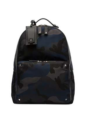 Valentino blue camouflage logo print backpack