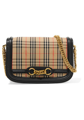 Burberry - Leather-trimmed Checked Cotton-canvas Shoulder Bag - Neutral