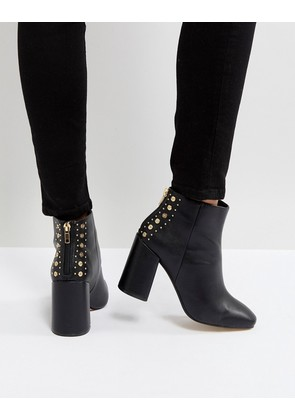 New Look Square Toe Studded Back Heeled Ankle Boot - Black