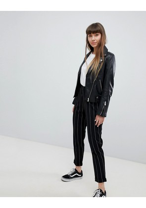 New Look Stripe Pull On Trousers - Black