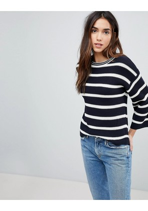 Brave Soul Treen Stripe Jumper With Wide Sleeves - Navy/cream