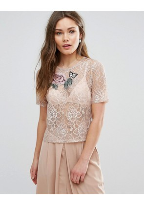 New Look Floral Applique Lace Top - Mid pink