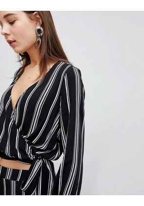 New Look Stripe Tie Front Low V Blouse Co Ord - Black pattern