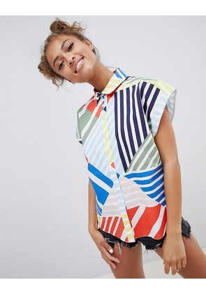ASOS DESIGN Cotton Boxy Shirt In Bright Abstract - Multi