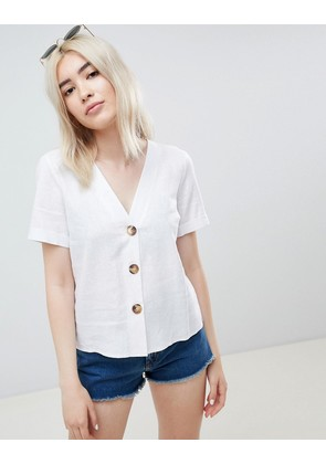 ASOS DESIGN boxy top with contrast buttons - White