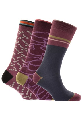 Ted Baker Pine 3 Pack Socks Burgundy