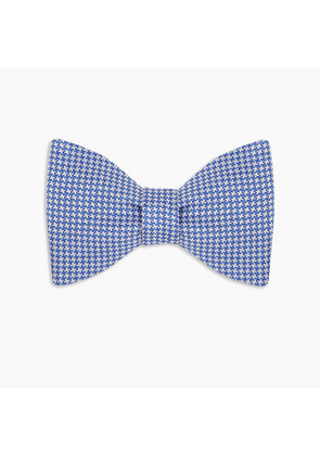 Blue and White Houndstooth Silk Bow Tie