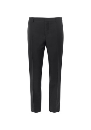 Black Slim-fit Embellished Mohair And Virgin Wool-blend Tuxedo Trousers