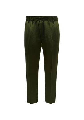 Tapered Webbing-trimmed Satin-twill Drawstring Trousers