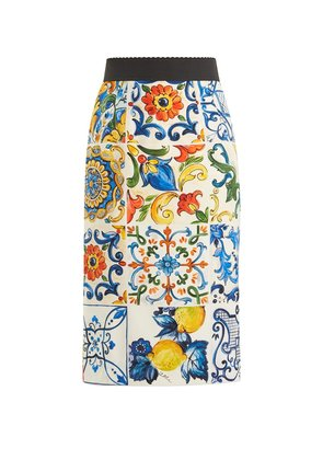 Majolica-print silk-blend pencil skirt